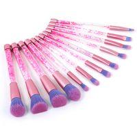 12pcs Quicksand Crystal Makeup Brush Pennelli per cosmetici Glitter Diamond Pennelli per trucco Set Powder Eyeshadow Foundation Make up brush Tool Kit