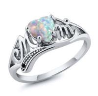 جديد وصول الأبيض النار العقيق اللون الفضي النساء أمي هدية زفاف خاتم الخطوبة الحجم 6-10