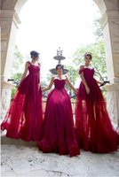 Dark Red Long Country Bridesmaid Dresses 2018 Floor- Length S...