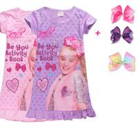 Дети повседневные пижамы платье JoJo Siwa для девочек платье принцессы бантом с принтом оборками Детская пижама летнее платье + бантом заколка C3914