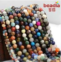 Alta qualità 4mm 6mm 8mm casuale colore misto natura semi-preziosa rotonda rotondo distanziatore perline di pietra per gioielli moda collana fai da te