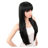 Suave sensação de cabelos Longo Liso Preto Perucas Com Bangs Hairstyle cabelo sintético de fibra de resistência de alta temperatura Venda