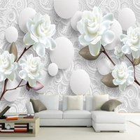 Пользовательские 3D Стереоскопические Обои Росписи Европейская Мода Красивый Белый Пион Спальня ТВ Фон Обои Современный Домашний Декор