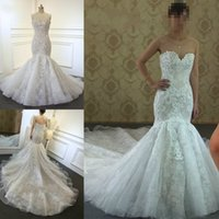 2018 Sweetheart Neckline Lace Appliques Sexy Mermaid Wedding...