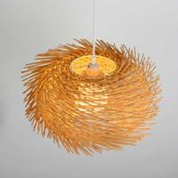Suspension ronde moderne Cage à Oiseau Lampes Main Bambou Tissage pendentif lumières D35cm 40cm 50cm éclairage à la maison Suspension Bois G081