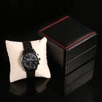 럭셔리 블랙 PU 가죽 시계 케이스 내구성 하드 케이스 팔찌 팔찌 쥬얼리 시계 선물 상자 남여 도매에 대한