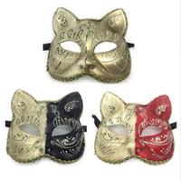 Seksi Kadınlar Kedi Retro Phantom Venedik Boyalı Masquerade Maske El Yapımı Cosplay Dans Balo Topu Gösterileri Parti maskeleri