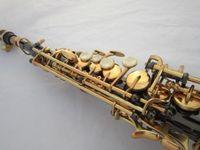 Yüksek Kalite MARGEWATE B (B) Soprano Saksafon Pirinç Siyah Nikel Altın Düz Sax İnci Düğmeler Profesyonel Aletleri