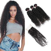 3 번들 isholes 인간의 머리카락 폐쇄가있는 브라질 버진 머리카락 도매 가격면 100 % 인간의 머리카락 자연 색 1B 무료 배송