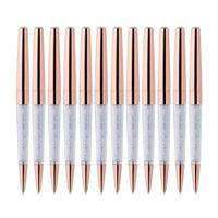 100Pcs / Lot Rose Gold Pen Bling Diamant-Pens Fine Black Ink Kristall Kugelschreiber Ring Hochzeit Büro Metall-Rollen-Kugel-Geschenk