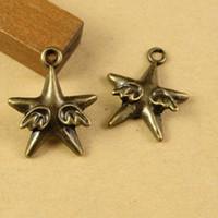 300 unidades / lote de bronze liga Estrela do anjo Asas antigos Charms Pingente 22 * 18MM bom para artesanato DIY