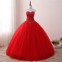 2018 New Chegou Real Foto Red Crystal Ball Gown Vestido Quinceanera com Beading Lantejoula Tulle Doce 16 Vestido Vestido Debutante Vestidos BQ117