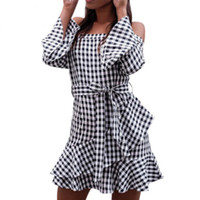 Fashion Black Plaid Sexy Off Shoulder Women Dresses Flare Sl...
