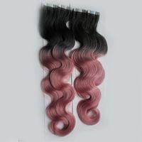 인간의 머리카락 연장 기계에서 만든 T1B / 핑크 컬러 테이프 레미 브라질 바디 웨이브 머리카락 200G 80 조각 옴 브레 피부 Weft 헤어 익스텐션