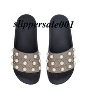 mens and womens fashion beige Pearly- Studded slide sandals s...