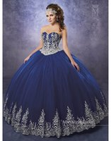 2019 Royal Blue Quinceanera Robes Sweetheart robes de quinceaner dentelle appliques robe de bal robe de bal 16 robes