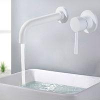 Messing Wand Waschbecken Mischbatterie Waschbecken Wasserhahn Schwenkauslauf Bad Wasserhahn Einhebel Weiß Toilette Waschbecken Mischkran