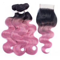 T 1B Pink Red Bundles with Closure Ombre Human Hair Colored ...