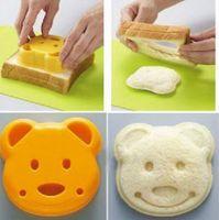 DIY 만화 곰 디자인 샌드위치 커터 빵 비스킷 양각 장치 케이크 도구 쌀 공 점심 식사 DIY 금형 도구