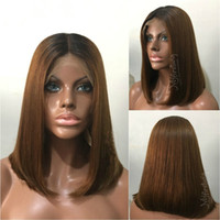 Brasilianische Ombre Lace Perücke # 1B 30 Two Tone Ombre Echthaar Perücke Glueless Ombre Volle Spitze Echthaar Perücken Lace Front Perücke
