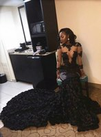 African Black Prom Dresses Mermaid Sheer Neckline Appliques ...