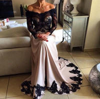 Sexy Modern Long Sleeve Evening Dresses V Neck Lace Satin A Line Long Dress Africa Women Formal Prom Gown Mother Of Bride Wear