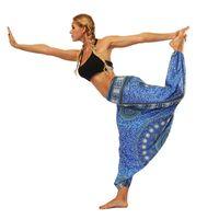 Neue Frauen-Laterne Yoga-Hosen Ethno-Stil Elastic Tanzen Loose Fit mit hohen Taille Strand Hosen-hochwertiges freies Verschiffen
