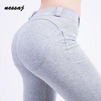 2018 Nessaj Art und Weise gute Qualität niedrige Taille elastische Gamaschen Push Up Pants Women Sexy Hip-dünne In Stretch Cotton Leggings