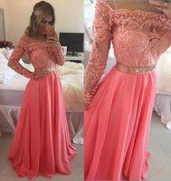 아플리케와 진주를 가진 긴 소매 이브닝 드레스 뜨거운 판매는 페스트로 드레스를 입는다.