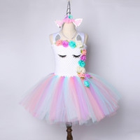 Flower Girls Unicorn Tutu Dress pastello Rainbow Princess Girls Birthday Party Dress Bambini Bambini Halloween Unicorn Costume 2-14Y