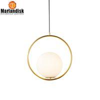 Modern Stil Altın Metal Yuvarlak Küre Kolye Işıkları Bar Restoran Mutfak Armatürleri Kapalı LED Cam Top Kolye Lambaları Lamba Asmak
