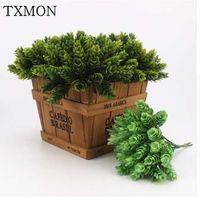Plantes artificielles en plastique de petits gars d'ananas pour la décoration de mariage à la maison Accessoires Fond Vert Plante 30 Têtes / Bouquet