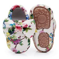 Fashion Floral printing hard sole toddler moccasins first walker shoes PU leather cute bow baby girls shoes infant walk