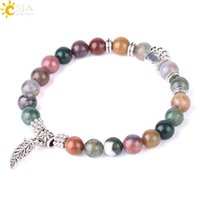 CSJA Dog Paw Jewelry for Women Leaf Charms Natural Stone Mala Beads Bracelet Obsidian Indian Agate Tiger Eye Gemstone Beaded Bracelets F539
