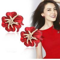 Calor Boemia Segunda Moda Doce Flor De Riqueza Estrela Do Mar Rosa Temperamento Personalidade Orelha Orelha Brinco Ornamentos