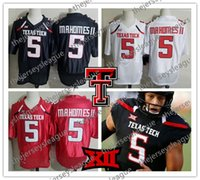 Texas Tech Red Raiders # 5 Patrick Mahomes II Black White Red Лучшее качество, сшитое 2018 NCAA College Football Jerseys Бесплатная доставка