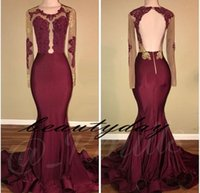 Maroon Prom Dresses 2019 New Long Sleeve Medio Oriente Abito da sera formale Party Pageant Abiti Appliqued pizzo Mermaid Open Back Plus Size