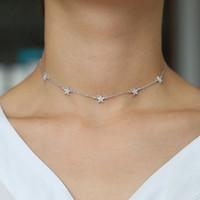 À la mode douce étoiles colliers colliers maillons maillons délicats étoiles boho femmes collier bijoux en argent 925 lady lady collier femme bijoux