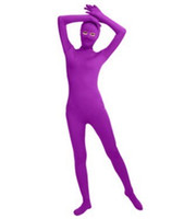 (SWO008) 보라색 스판덱스 전신 피부 단단한 Unisex Zentai Suit Bodysuit 의상 여성 Unitard Lycra 눈 오픈 Jumpsuit