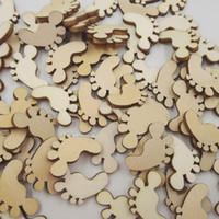 100 pc en bois BÉBÉ FEET artisanat scrapbooking carte fabrication de Noël biscuit BRICOLAGE embellissement enfants enfants handcrafts fournitures