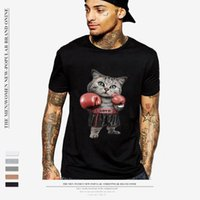 Violent Boxing Cat 3D Print Men T Shirt 2018 Summer Short Sl...