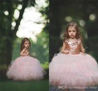 Erstkommunion Kleid Rose GoldSequined Blush Tüll Ballkleid-Blumen-Mädchen-Kleider mit Flügelärmeln Puffy kleine Mädchen formale Partei-Kleider