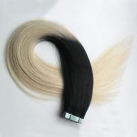 Bande Dans Les Extensions Ombre T1B / 613 Deux Tons Non Remy 100G 40PCS Cheveux Humains Raides Ombre Peau Trame Cheveux Extensions