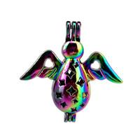 10 pz / lotto Arcobaleno Colore Carino Angelo Perle Perline Gabbia Locket Pendant Diffusore Profumo Aromaterapia Oli Essenziali Diffusore Floating Pom