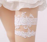 2 Stück Hochzeit Braut Bein Strumpfhalter Spitze Blume Oberschenkel Ring Bein Strumpfband für Frauen weiße Farben