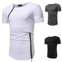 جديد تي شيرت غير النظامية سستة تصميم القمصان الصيف الرجال قميص القطن الرجال الملابس طاقم الرقبة بألواح t-shirt hot مجانا الرجال أعلى المحملات