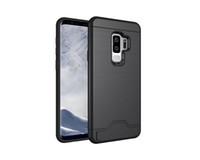 Pure KASE Case Slot Case for Samsung S9 S9 plus حامل بطاقة الائتمان Hybrid Phone MetCover مع تصميم Faux Brushed Al