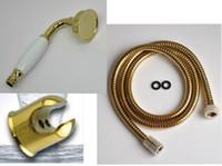 Neuer PVD-TI Gold BrassCeramics-Telefon-traditioneller Handduschkopf mit Zinklegierungs-Halter 1,5 m Edelstahlschlauch