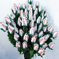 야구 노란 가죽 빨간 봉합 솔기 소프트볼 졸업 선물 장미 꽃 커넥터