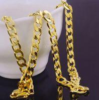 Toptan Katı 18 K Sarı Altın Halat Zincirleri Erkekler Için Kolye Dolu Küba Curb Kolye Erkek Yaş-Eski Zincir Bağlantı Takı 7mm